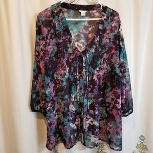Purple and teal watercolor floral sheer blouse